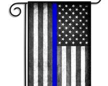 Thin Blue Line American Garden Flag-Retro American Garden Flag-Grubby Grungy American Flag-Civil War Decor-USA Garden Flag 12.5 x 18-Inch