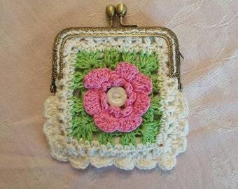 Crochet coin purse. Fully lined Beautiful little purse .