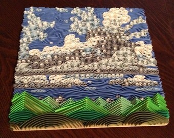 FOR SALE Quilled Clouds and Triangular Mountains Wall Art