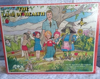1979 Vintage The Land of Health Jigsaw puzzle 551 pieces, Vintage Jigsaw Puzzle, 70s Parker Brothers Puzzle