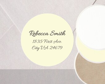 "cursive FANCY elegant font return address label stickers modern minimalist personalized round 12 large 2.5"" or 20 medium 2"" plain CREAM"