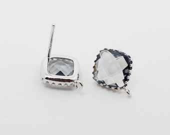 E008706/Charcoal/Faceted Glass +Rhodium Plated Over Brass Frame+Sterling Silver Post/Tooth Framed Square Glass Earrings/10x 10mm/2pcs