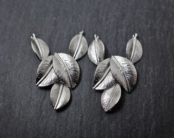 P0174/Anti-Tarnished Matte Rhodium Plating Over Brass/Multi leaves pendant Connector/34 x 14 mm/2pcs
