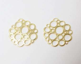 P0268/Anti-Tarnished Matte Gold Plating Over Brass/Bubble Pendant/20x21mm/2pcs