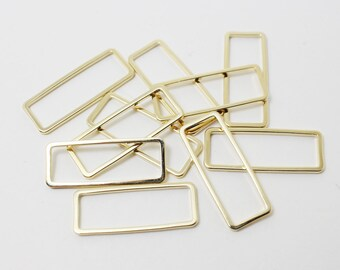 P0391/Anti-Tarnished Gold Plating Over Brass/Rectangle Pendant Connector/24x9mm/4pcs