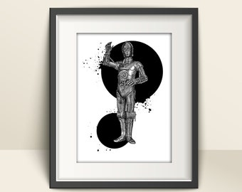 Starwars Character Illustrations - Stippled Ink Drawing