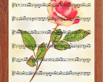 The Rose, Printable Wall Art, Music, Apricot Rose, Digital Art, Flower Art, Inspirational, Motivational, Instant Digital Download,