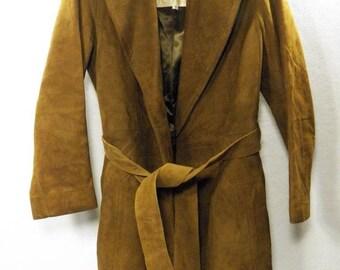 Vintage Robert Meshekoff Women's Sz 6 Brown Leather Coat Jacket