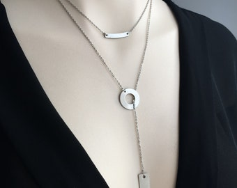 Layering Necklace Set - Layered Necklace - Stainless Steel Layered Necklace- Stainless Steel Y Necklace (sku 1053)
