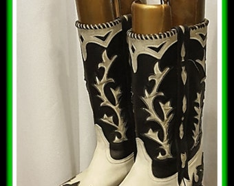 1940's Cowboy Dream Boots ~ Black and White Leather ~Viva Las Vegas~Rockabilly Weekend