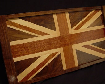 Solid Wood British Flag Serving Tray