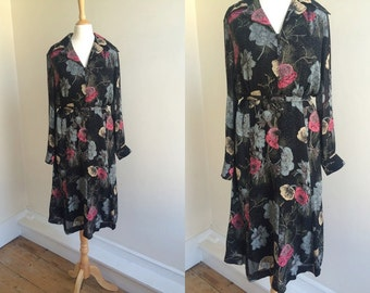 1970s Black Floral Midi Dress  * Size Large