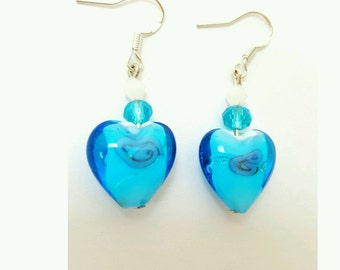 Blue heart earrings, heart hearrings, lampwork glass heart earrings, murano glass earrings, glass heart earrings