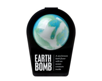 THE EARTH BOMB, Bath Bomb, bath fizzer, Bath Fizzie, Surprise Inside, Good Cause, Bath an  Body, Money Donated to Save Our Oceans