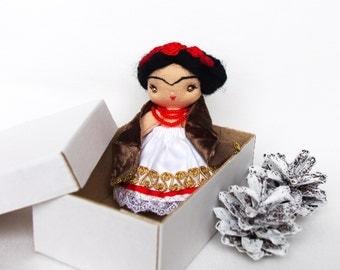 Small rag doll Handmade tiny doll Mini gift for her 4 inch Frida in white dress