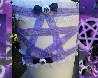 ANY COLOR.Pentagram leg garter.Pastel Eyeball pentagram leg garter.pastel goth,goth,lolita,harajuku,soft grunge creepy cute leg garter