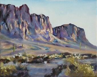 "Nr 687 ""Superstition Mountain"" by Joanna K, Original landscape painting. Oil on canvas 8 x 10 in, southwestern art, Arizona desert,"