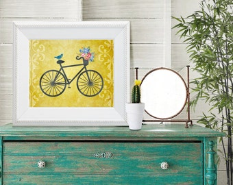 25% off SALE, Bicycle Print, bicycle Instant download, bicycle printable, bicycle gold print, bicycle print flowers, bicycle invitation