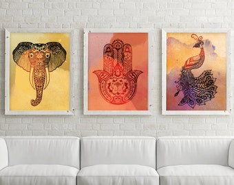 Zen Art, Zen Print, Yoga Prints, Yoga Art, Yoga Print Set, Buddhist Set of 3, Zen Wall Art, Boho Art, Hamsa, Set of 3 Prints, Yoga Wall Art