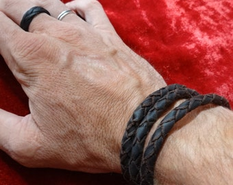 Genuine leather triple wrap bracelet, mens bracelet womens bracelet, custom made triple wrap braided leather bracelet, genuine leather