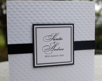 Eileen Invitation SAMPLE - Black and White Pocket Wedding Invitation, Embossed Designer Paper and Diamante Crystals