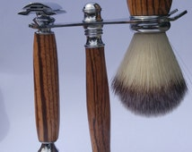 Shave kit, zebra wood shave set, double edged safety razor complete with stand, shave brush, shave stand, safet razor