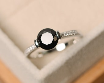 Black spinel ring, natural spinel ring, black gemstone ring, black ring