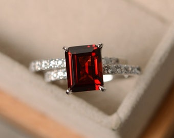 Emerald cut garnet ring, sterling silver, engagement ring, January birthstone, red gemstone ring garnet