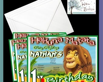 pack of 4 Lion King BIRTHDAY Invitations & Thank you Cards Personalized with your Information