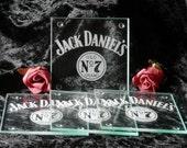Set Of 4 Glass Coasters Engraved - Jack Daniels - Personalised
