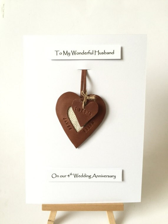 4th 3rd Wedding Anniversary Leather Gift Cards Personalised