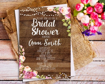 Rustic bridal shower Invitation, Peonies Rustic Bridal Shower Invite, wood bridal invite, bridal shower invitation, rustic wood invite