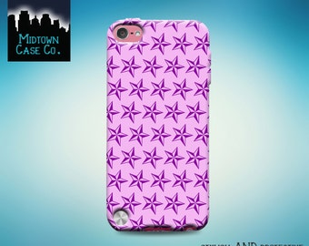 Nautical Star Pattern Pink Purple iPod Touch 5th Gen Generation, Nautical Star Pattern Pink Purple iPod Touch 6th Gen Rubber Case