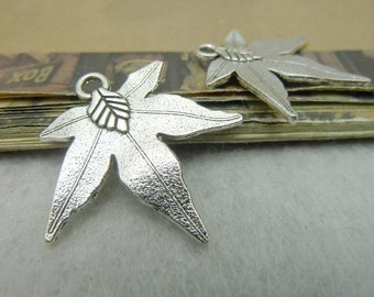 20 Maple Leaf Charms Antique Silver Tone 2 Sided