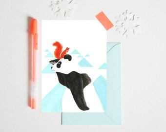 Postcard 'PANDA' 10 x 15 cm - Illustration for children's bedroom - design handpainted - graphic Poster