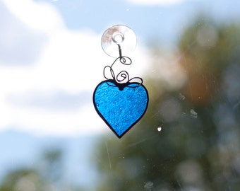 Small Blue Stained Glass Heart