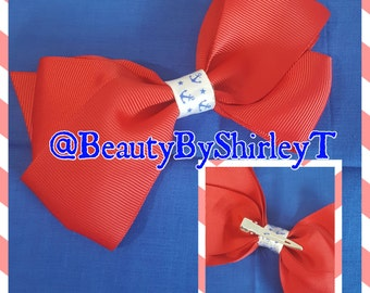 Bow Clip Nautical Anchor Red Blue White Ocean Sea Life Girly America