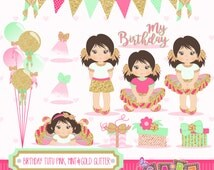 Birthday Tutu Pink, Mint and Gold Glitter, Clipart, Digital Paper, Banner, Frames, Birthday Girl, Balloons, Tutu, Girl Clipart, Gabz