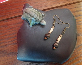 Wood and Brass Earrings