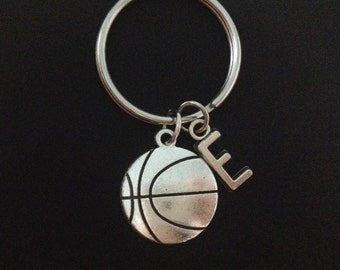 Basketball keychain - silvet basketball - sport keychain - initial keychain - customized - basketball lover - friendship - Christmas gift