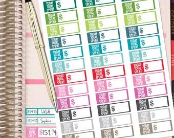 Planner Stickers - Total Spent Today Tracker