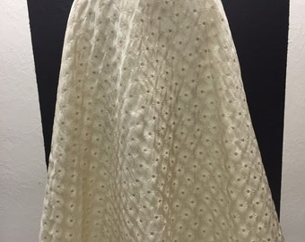 50s cream and gold flecked circle skirt with black waistband