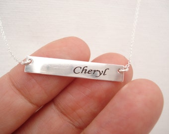 Sterling silver Personalized Bar Necklace...engraved name plate gold bar jewelry, Sorority gift, monogram, bridesmaid gift