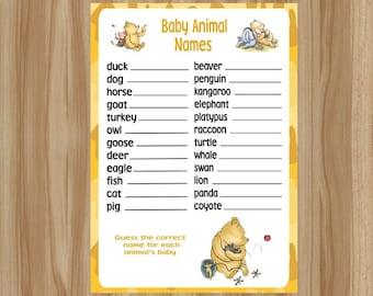 Winnie the Pooh Baby Shower Game, Winnie the Pooh Baby Shower, Classic Winnie the Pooh Game, Winnie the Pooh Game, Baby Animal Names