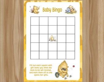 Winnie the Pooh Baby Shower Game, Winnie the Pooh Baby Shower, Classic Winnie the Pooh Game, Winnie the Pooh Game, Baby Bingo, Pooh Bingo