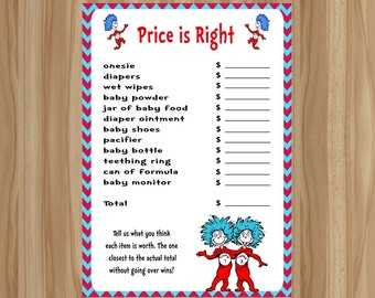 Dr. Seuss Baby Shower Game, Thing 1 Thing 2 Baby Shower Game, Thing 1 Thing 2 Baby Shower, Dr. Seuss Baby Shower, Price is Right