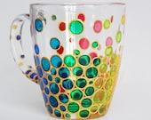Colorful Bubble coffee mug, Painted Bubbles mug, hand - painted mug, Mosaic Cup bright rainbow coffee mug, Coloured Bubbles cup