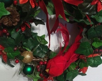 Grapevine Wreath,Poinsetta, Ivy with Red Ribbon and Cardinal