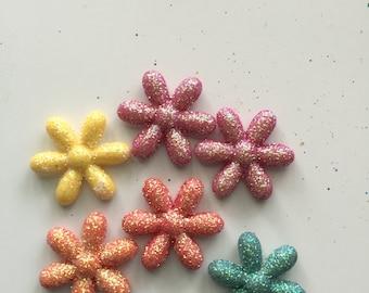 Flower Embellishments, Set of 6 Multi Colored Glitter Flower Flats, Glitter Embellishment, Scrapbooking, Card Making