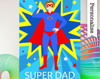 Super Dad Card, Personalised Birthday Card Dad, Dad Birthday Card, Daddy Card, Super Dad, Dad Card, Superhero Dad, Hero Dad, Step Dad Card
